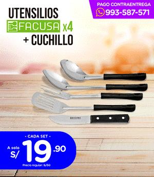 Utensilios + Cuchillo x4 Facusa