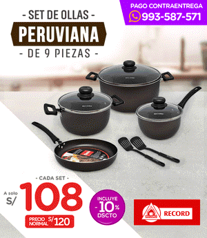 Ollas Peruviana Record Set x9 pzas
