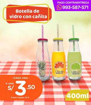 Botella decorada con cañita