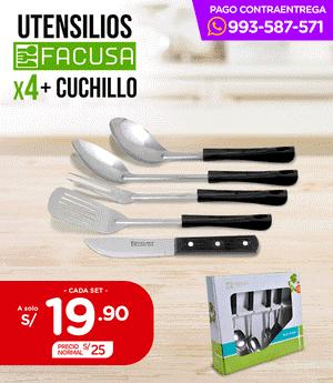 Utensilios + Cuchillo x4 - Facusa