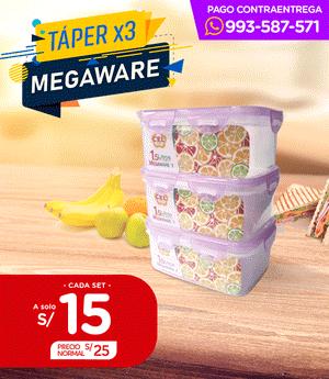 Táper Megaware 1.5 Lt. - Set x3