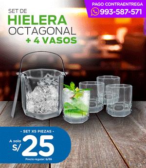 Set de Hielera + 4 vasos